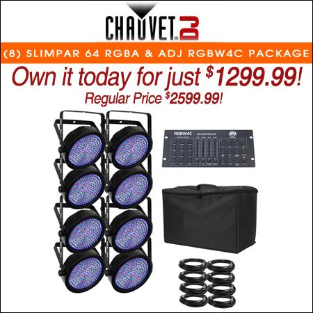 (8) Chauvet DJ SlimPAR 64 RGBA & ADJ RGBW4C Package