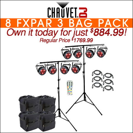 8 Chauvet DJ FXpar 3 Compact Effect Par Lights with Stands, Remote & Cases Package