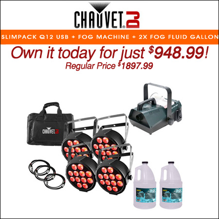 CHAUVET DJ SlimPACK Q12 USB + Fog Machine + 2x Fog Fluid Gallon