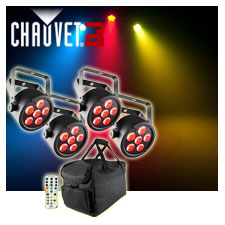 (4) Chauvet DJ EZpar T6 USB Battery-Operated Tri-Color RGB LED Wash Lights Package