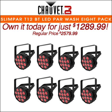 Chauvet SlimPAR T12 BT LED Par Wash w/ Bluetooth Eight Pack