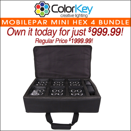 ColorKey MobilePar Mini Hex 4 Bundle with Carrying Case (6-Pack)