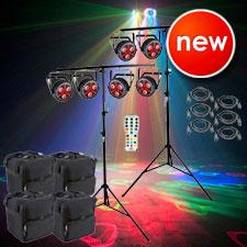 8 Chauvet DJ FXpar 3 Compact Effect Par Lights with Stands, Remote & Cases Package
