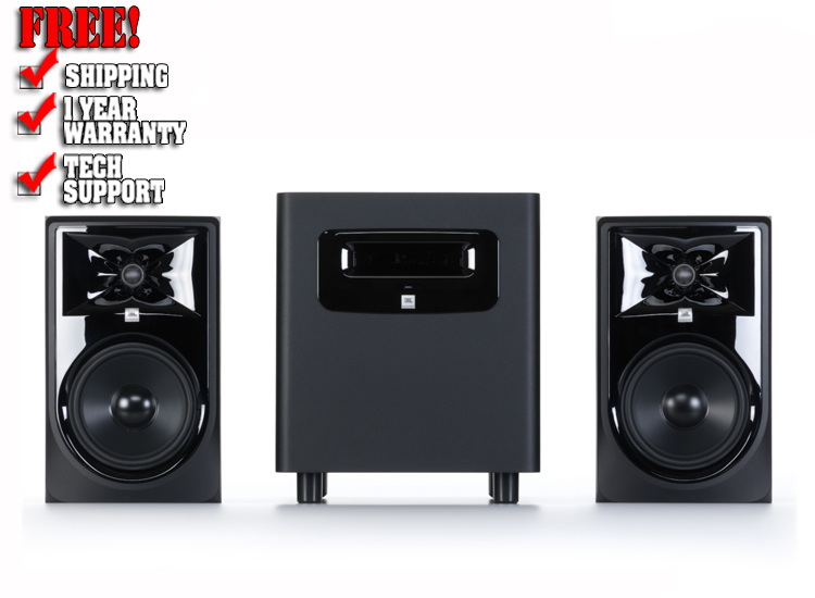 JBL 308P MkII Studio Monitors Pair with LSR310S Bundle
