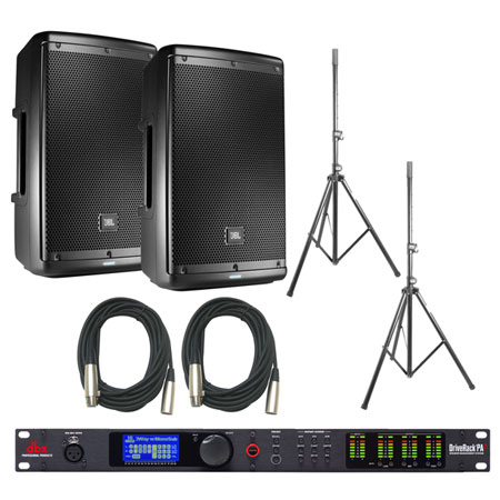 JBL EON610 Speakers and dbx DriveRack PA2 Bundle