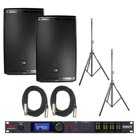 JBL EON615 Speakers and dbx DriveRack PA2 Bundle