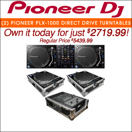 2 Pioneer PLX-1000 Direct Drive Turntables