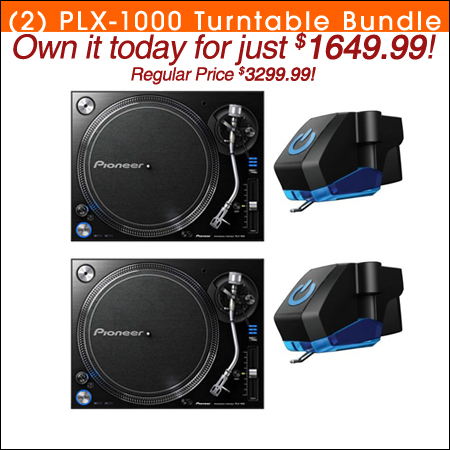 Pioneer (2) PLX-1000 Turntable Bundle