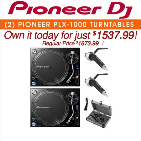 2 Pioneer PLX-1000 Turntables