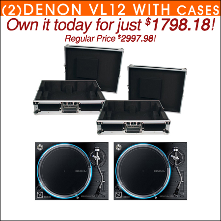 Denon VL12 Prime Direct Drive Turntables (2) w/ Cases