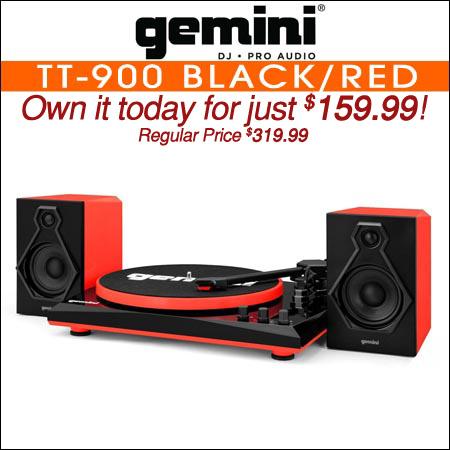 Gemini TT-900 Stereo Turntable System Black/Red