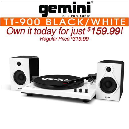 Gemini TT-900 Stereo Turntable System Black/White