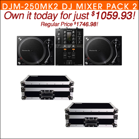 Pioneer DJM-250MK2 DJ Mixer with (2) PLX-500K Turntables & TT Cases