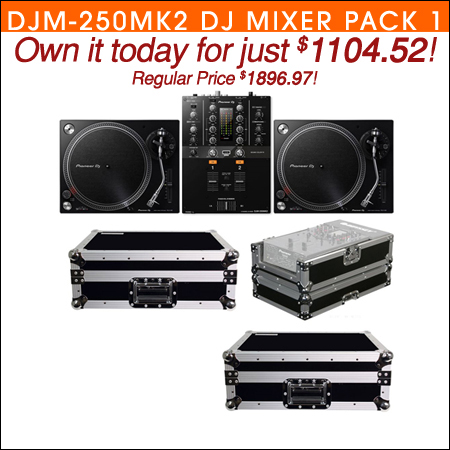 Pioneer DJM-250MK2 DJ Mixer with (2) PLX-500K Turntables & Cases