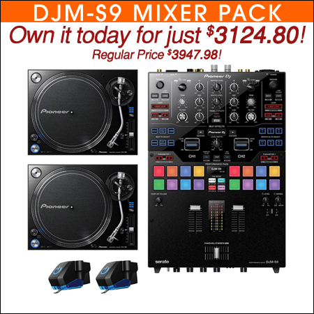 Pioneer DJM-S9 Mixer with (2) PLX1000 Turntables & M447 Cartridges