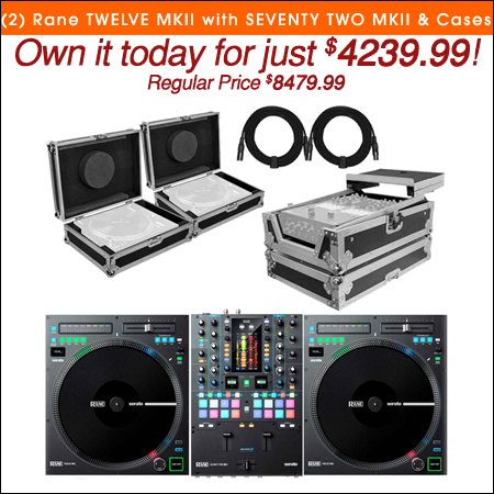 (2) Rane TWELVE MKII Turntable Controllers with SEVENTY TWO MKII Mixer & Individual Cases Package