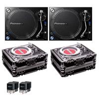 Pioneer PLX-1000 DJ Turntables with Cases & M44-7 Cartridges