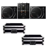 Pioneer DJM-250MK2 DJ Mixer with (2) PLX-500K Turntables & TT Cases