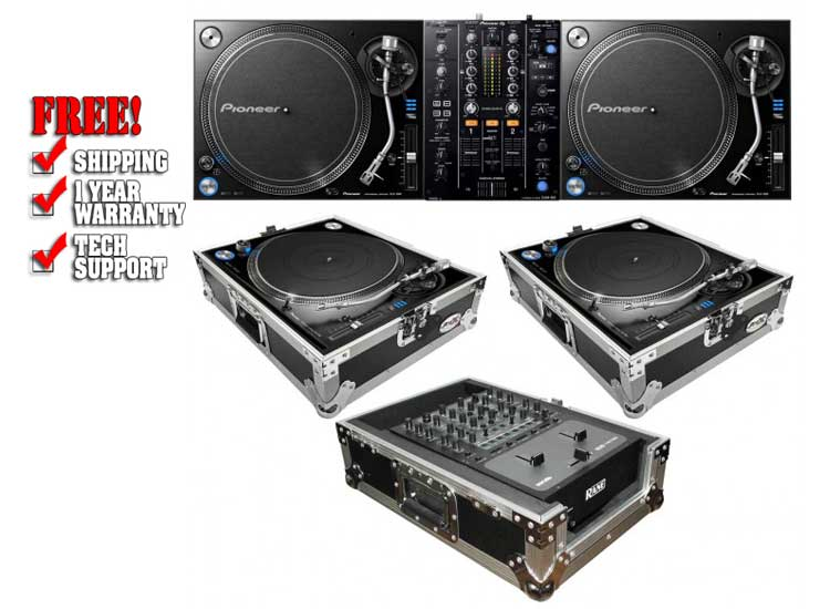 2 pioneer plx 1000 direct drive turntables with djm 450 2 channel mixer ata cases. Black Bedroom Furniture Sets. Home Design Ideas