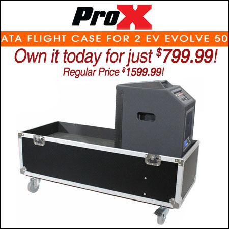 ProX ATA Flight Case for 2 EV Evolve 50 Compact Array Systems W/Wheels