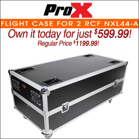 ProX Flight Case for 2 RCF NXL44-A Active 2 Way Column Array with 4 Inch Wheels