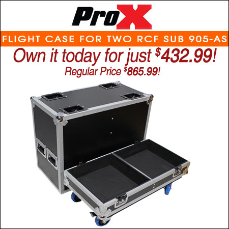 ProX Flight Case for Two RCF SUB 905-AS Subwoofers W-4 Inch Wheels