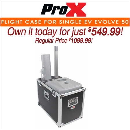 ProX Flight Case for Single EV Evolve 50 Compact Array System W-2 Low Profile Wheels