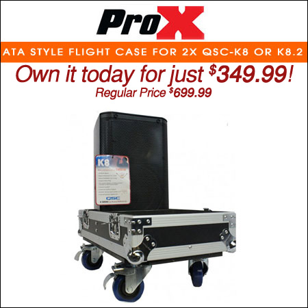 ProX ATA style Flight Case for 2x QSC-K8 or K8.2 Speakers