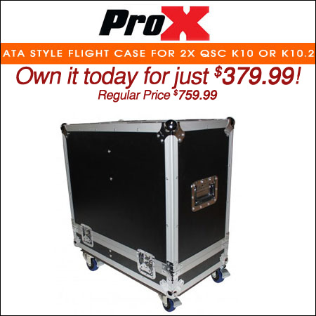ProX ATA style Flight Case for 2x QSC K10 or K10.2 Speakers