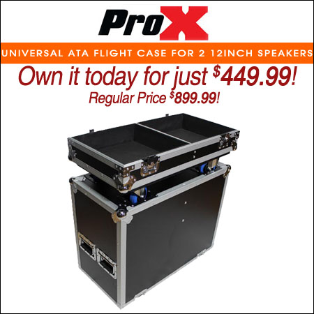 ProX Universal ATA Flight Case for 2 12inch Speakers
