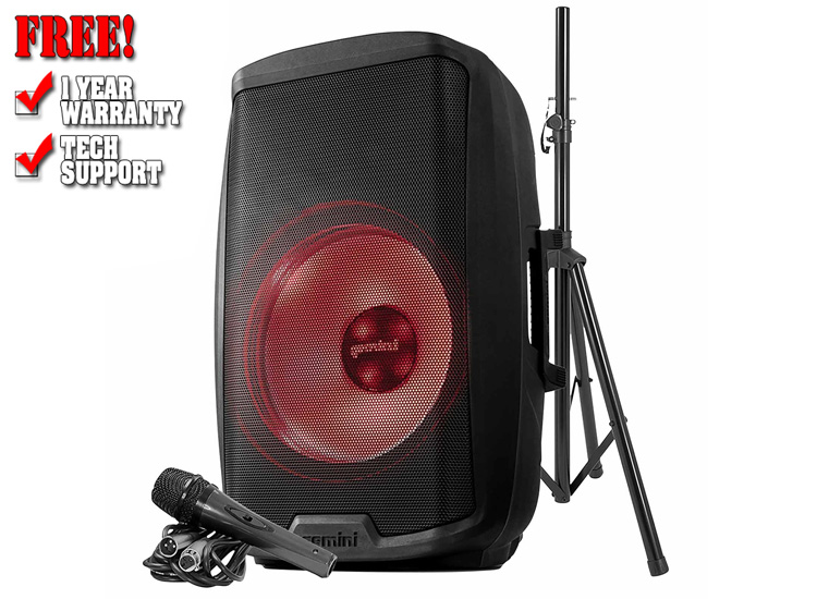 """Gemini AS-2115BT-LT-PK Active 15"""" LED Party Light Loudspeaker with Stand & Microphone"""