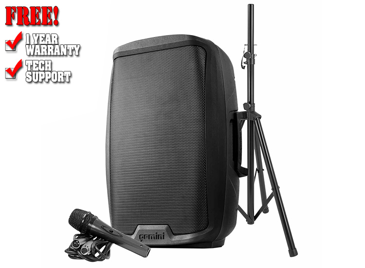 """Gemini AS-2115BT-PK Active 15"""" LED Party Light Loudspeaker with Stand & Microphone"""