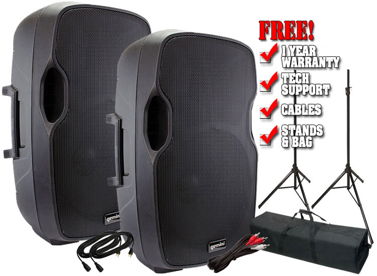 Gemini AS-15BLU 15-inch Active Loudspeaker with USB /SD / Bluetooth Value Pack