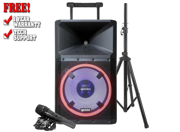 """Gemini GSP-L2200PK 15"""" Bluetooth Portable LED Speaker with Stand and Microphone Bundle"""