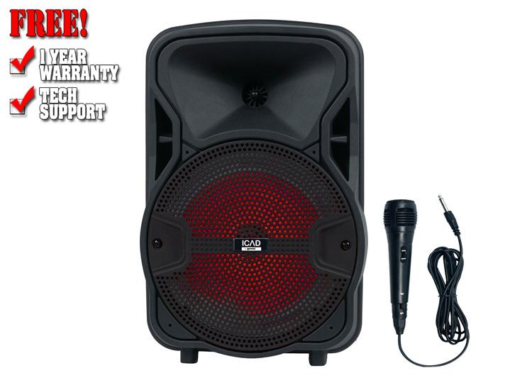 "Gemini GSX-L208BTB 500 Watts 8"" Backlit LED Light Show Bluetooth Rechargeable Party Speaker"