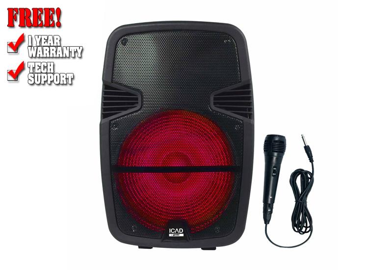 "Gemini GSX-L515BTB 1000 Watts 15"" Backlit LED Light Show Bluetooth Rechargeable Party Speaker"