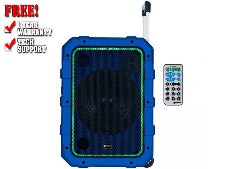 Gemini MPA-2400BLU Rechargeable Weather Resistant Trolley Speaker in Blue