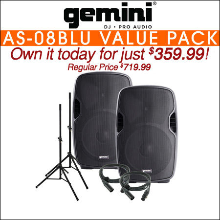 Gemini AS-08BLU 8-Inch Powered Bluetooth Loudspeaker