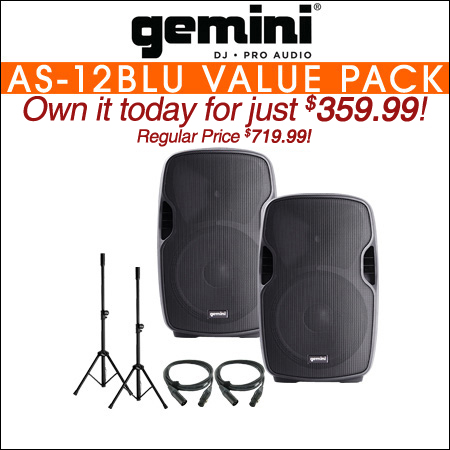 Gemini AS-12BLU 12-Inch Powered Bluetooth Loudspeaker VALUE PACK