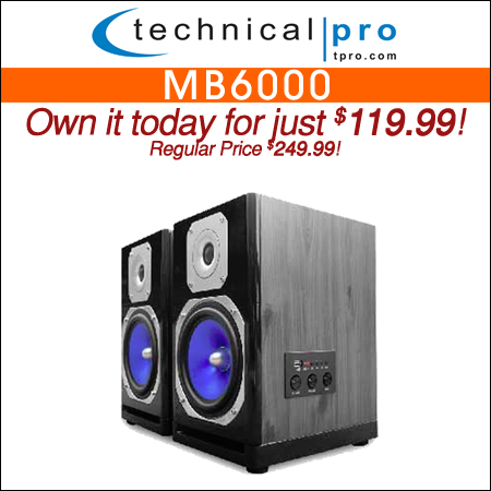 Technical Pro MB6000 Monitor Speakers with Bluetooth Connectivity