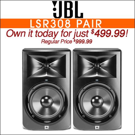 JBL LSR308 8inch Powered Studio Monitor Value Pack