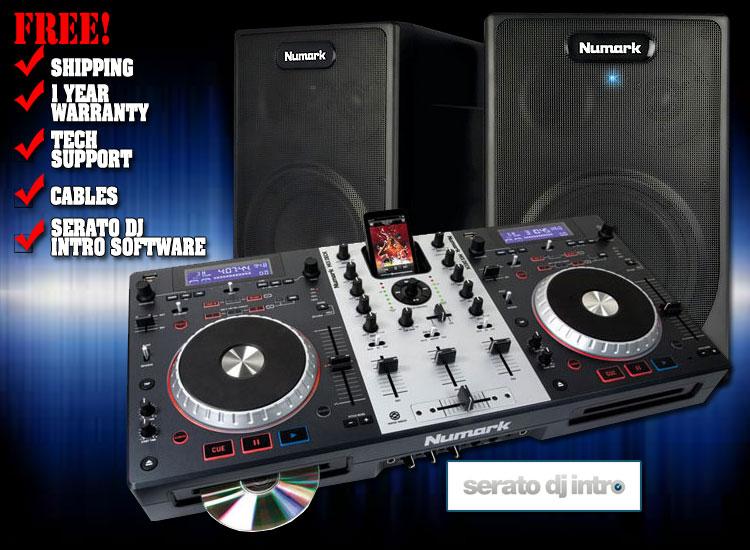 numark mixdeck starter pack complete dj system with numark mixdeck controller and two numark. Black Bedroom Furniture Sets. Home Design Ideas