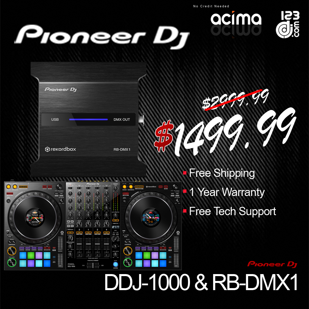 PIONEER DDJ-1000 rekordbox Controller + RB-DMX1 Lightshow Interface Bundle