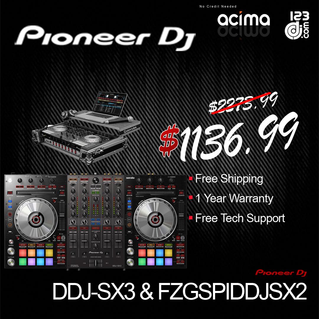 PIONEER DJ DDJ-SX3 + ODYSSEY FZGSPIDDJSX2 2U Case Bundle