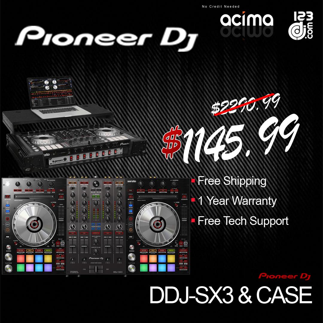 PIONEER DJ DDJ-SX3 + ODYSSEY FZGSPIDDJSX2BL 2U BLACK CASE BUNDLE