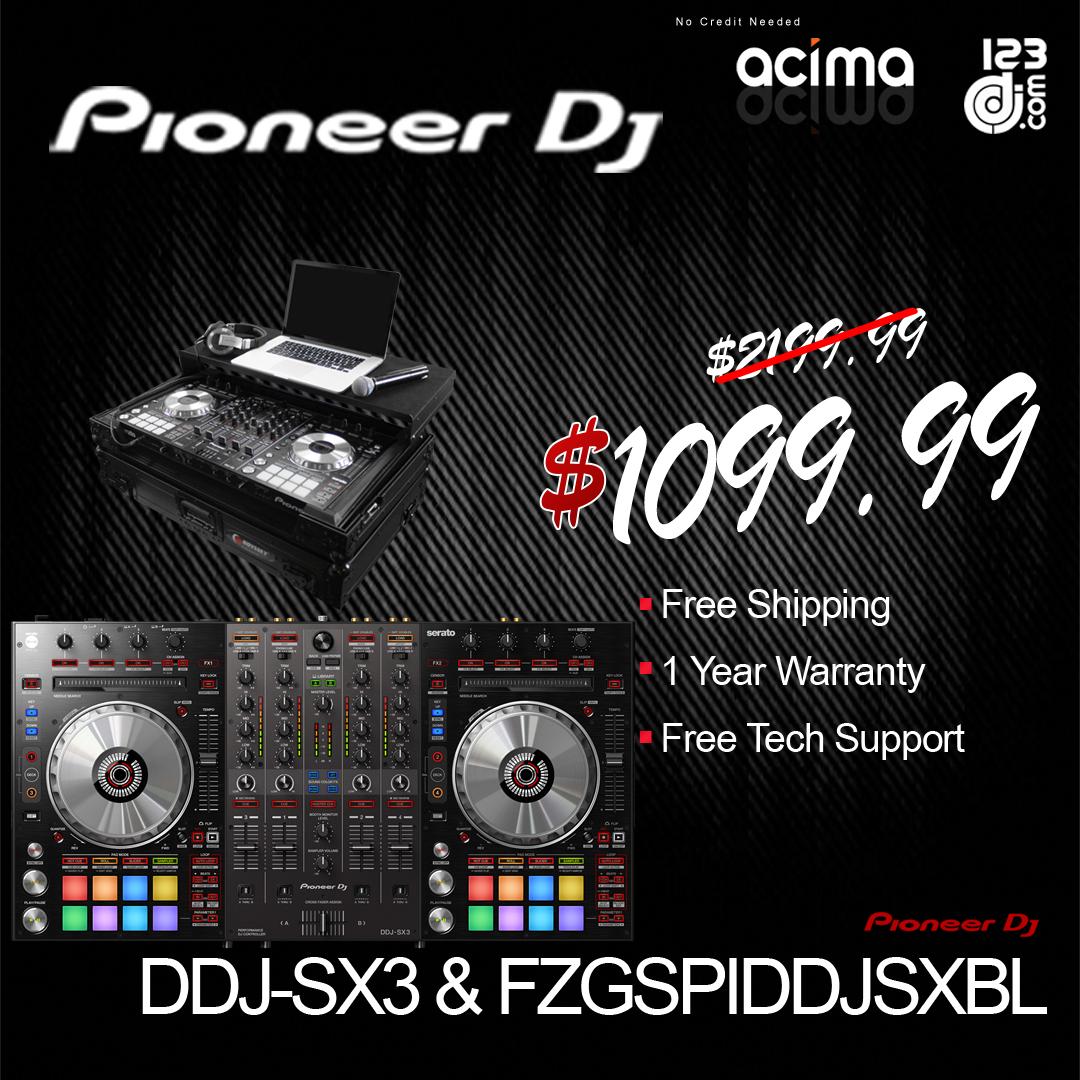PIONEER DJ DDJ-SX3 + ODYSSEY FZGSPIDDJSXBL Black Case Bundle