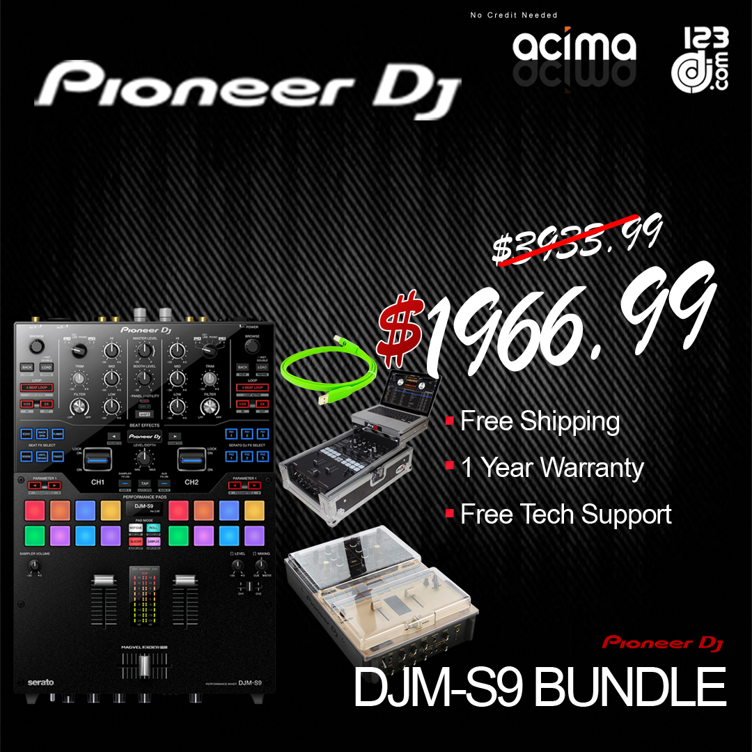 PIONEER DJ DJM-S9 2 Channel Serato DJ Mixer + Flight Case + Decksaver Cover + USB Cable Bundle