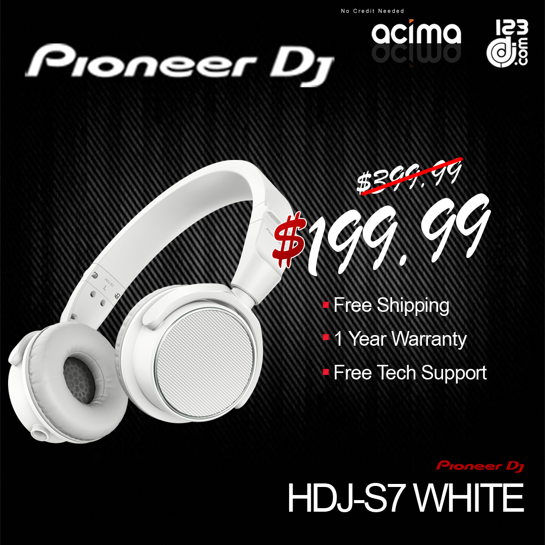 PIONEER DJ HDJ-S7-W Professional On-Ear DJ Headphones (White)