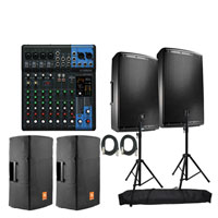 (2) JBL Professional EON615 Speakers with Yamaha MG10XU Stereo Mixer Package