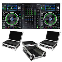 (2) Denon SC5000 Prime Media Players and X1800 Prime 4-Channel Club Mixer with ATA Cases Pro DJ Package